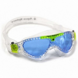 Фото очки для плавания aquasphere vista junior clear/lime голубые линзы